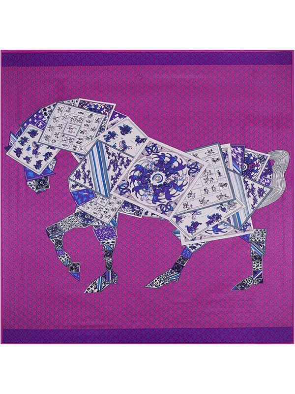 Poker Horse-0565 Silk & Polyester 130*130 Scarf Kerchief