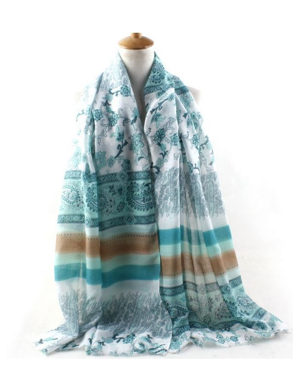 F Cashew Combed Cotton Scarves Shawl-Green