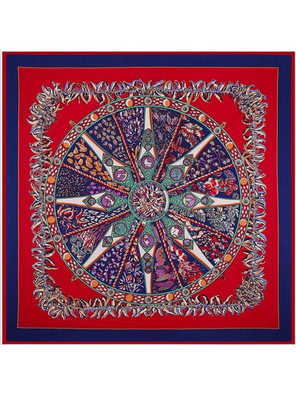 Small Pepper Bohemia Rose Compass-0146 Twill Silk & Polyester 130*130 Scarf Kerchief