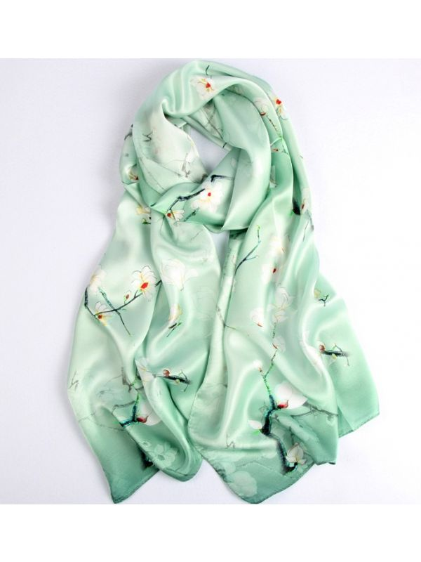 Primary Spring Silk Charmeuse Fabric Digital Painting Scarves Shawls 180*55cm
