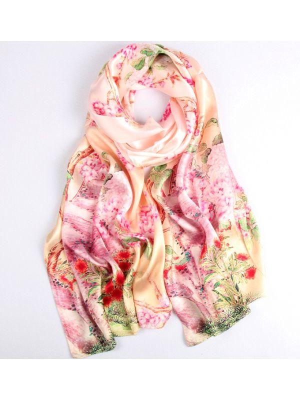 Marvelous Spring Silk Charmeuse Fabric Digital Painting Scarves Shawls 180*55cm