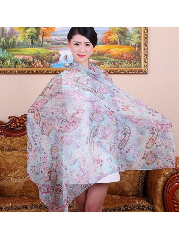 Cashew 100% Silk Scarves Wrap Beach Towel - YMWR